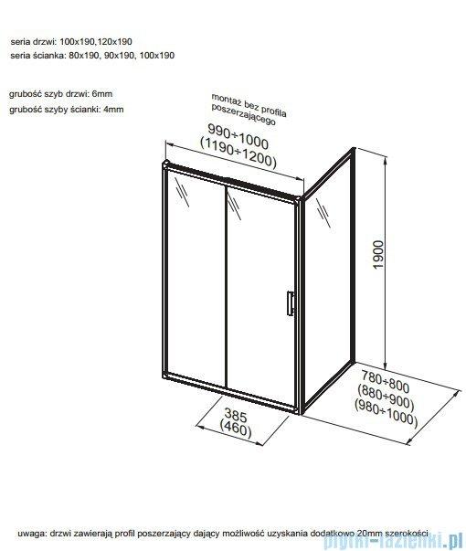 Aquaform Supra Pro ścianka kabinowa 80cm przejrzyste 103-09325