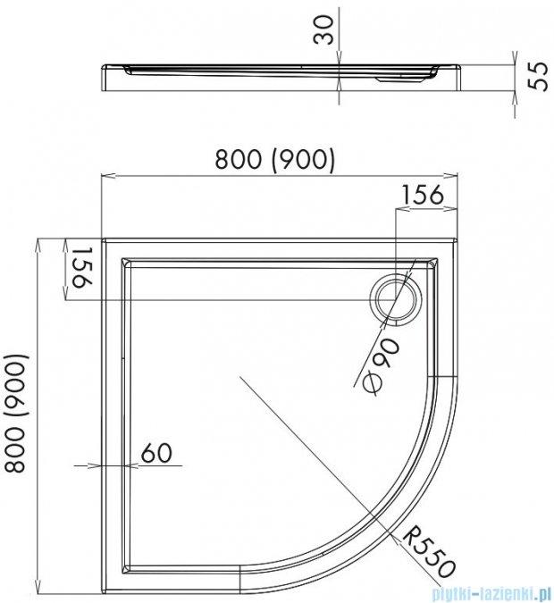 Alterna brodzik akrylowy półokrągły 90x90x5,5 cm ALTN-952598