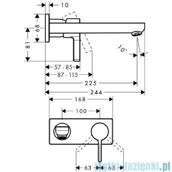 Hansgrohe Metris S Jednouchwytowa bateria umywalkowa DN15 montaż ścienny z wylewką dł. 225mm 31163000