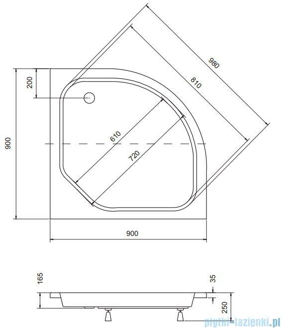 Sea Horse Sigma zestaw kabina natryskowa półokrągła niska 90x90x162cm chinchilla+brodzik BKZ2/3/K