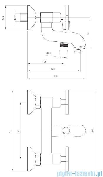 Deante Lucerna bateria wannowa bez kompletu natryskowego chrom BEL 010D