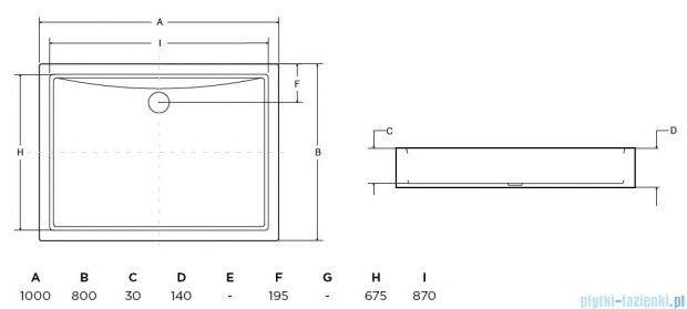 Besco Alpina 100x80x14cm brodzik z zintegrowaną obudową #BAA-100-K