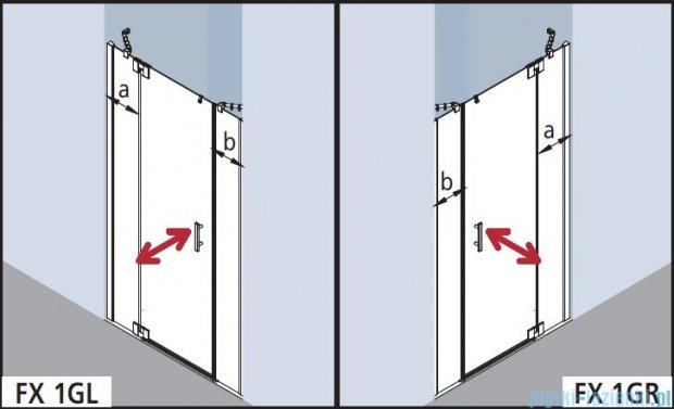 Kermi Filia Xp Drzwi wahadłowe 1-skrzydłowe z polami stałymi, lewe, przezroczyste KermiClean/srebrne 150x200cm FX1GL15020VPK