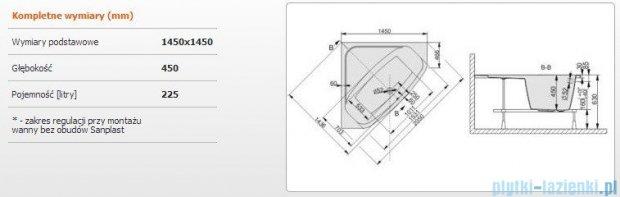 Sanplast Free Line Wanna symetryczna+stelaż WS/FREE 145x145+ST30, 610-040-0340-01-000