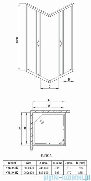 Deante Funkia kabina kwadratowa 80x80x185 cm grafitowe KYC 442K