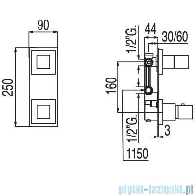 Tres Tresmostatic Loft Bateria termostatyczna podtynkowa jednodrożna kolor chrom 200.250.01
