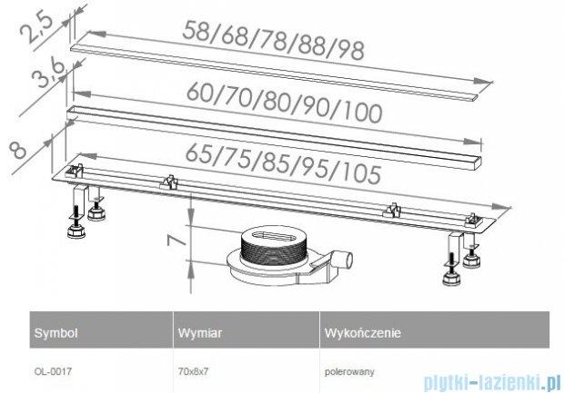 New Trendy Lux Slim odpływ liniowy 70x8x7cm poler OL-0017