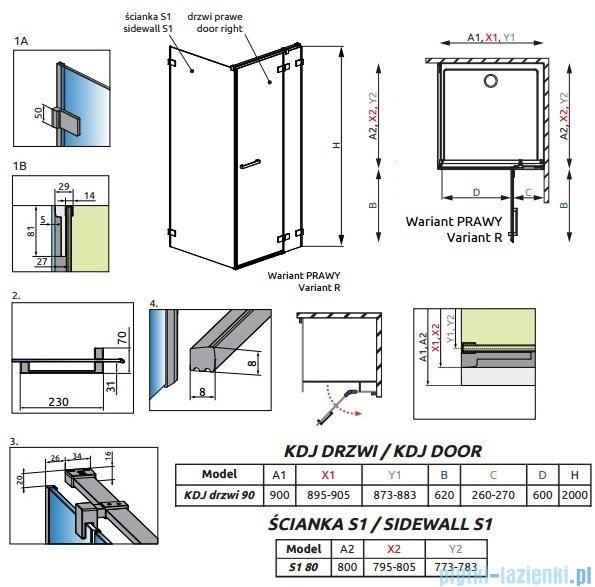 Radaway Euphoria KDJ Kabina prysznicowa 90x80 prawa szkło przejrzyste + brodzik Argos D + syfon 383044-01R/383051-01/4AD89-01