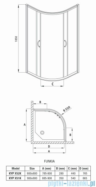 Deante Funkia kabina półokrągła 90x90x185 cm grafit KYP 451K