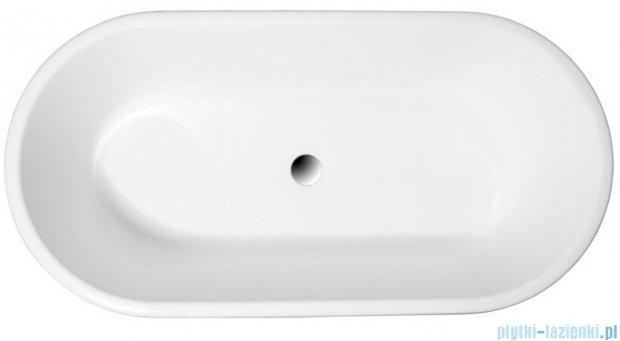 Polimat Amona Nero solid surface wanna wolnostojąca 150x75 cm biało-czarna 00496