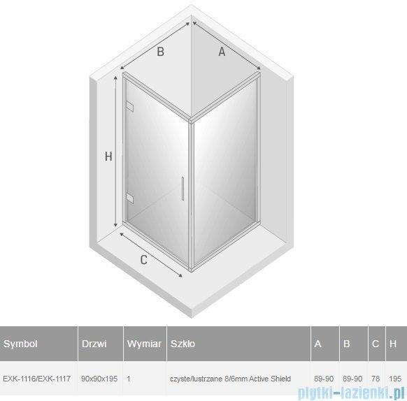 New Trendy Lumina kabina prysznicowa 90x90cm przejrzyste-lustro EXK-1116/EXK-1117