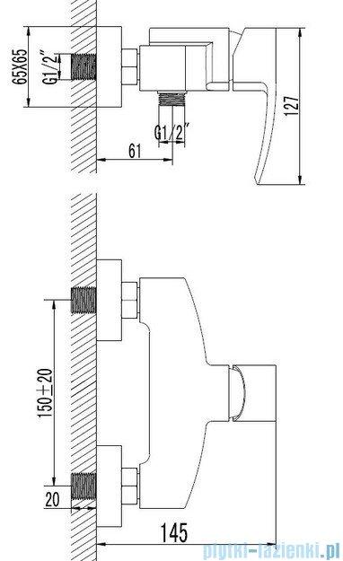 Omnires Murray bateria natryskowa chrom MU6140