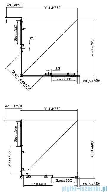 Omnires kabina kwadratowa 80x80x185cm szkło przezroczyste NDC80X