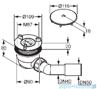 Kludi Tasso 90 Zestaw odpływowy chrom 210980500