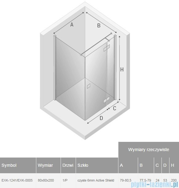 New Trendy Reflexa 80x80x200 cm kabina kwadratowa prawa przejrzyste EXK-1241/EXK-0005