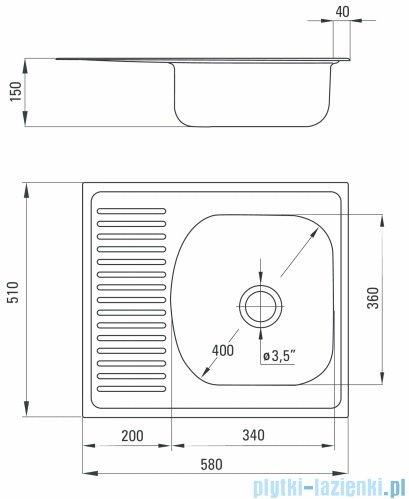 Deante Techno zlewozmywak 1-komorowy z krótkim ociekaczem 58x51 cm satyna ZMU 0113