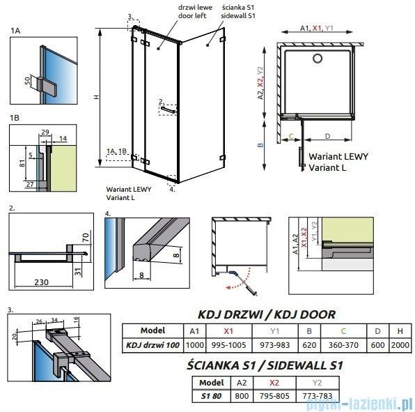 Radaway Euphoria KDJ Kabina prysznicowa 100x80 lewa szkło przejrzyste + brodzik Argos D + syfon 383040-01L/383051-01/4AD810-01