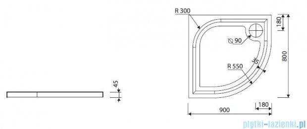 Marmorin Otero 80 brodzik półokrągły 80x80 cm biały 285080201