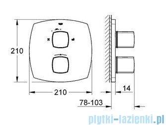 Grohe Grandera wannowa bateria termostatyczna ze zintegrowanym przełącznikiem chrom/złoty 19948IG0