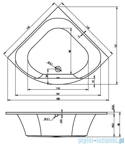 Riho Atlanta wanna symetryczna 140x140cm nóżki+syfon BB70/07/AMC55