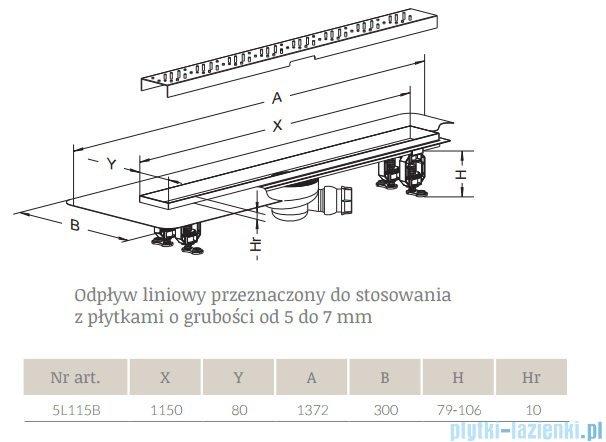 Radaway Quadro Odpływ liniowy 115x8cm 5L115B,5R115Q