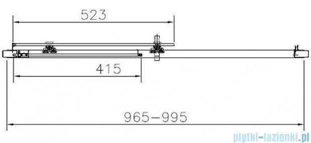 Roca Town Drzwi do wnęki prysznicowej 2częściowe 100 100x195,5cm szkło przezroczyste AMP181001M