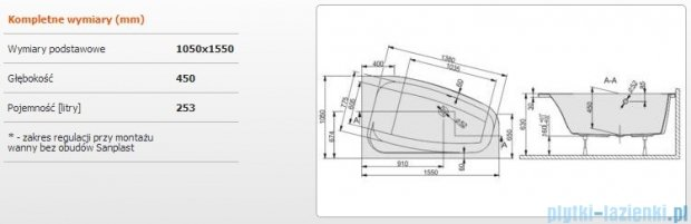 Sanplast Free Line Wanna asymetryczna prawa+stelaż WAP/FREE 155x105+ST27, 610-040-0950-01-000