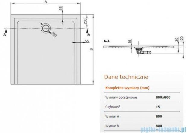 Sanplast Brodzik kawdratowy Space Mineral 80x80x1,5cm + syfon 645-290-0020-01-000