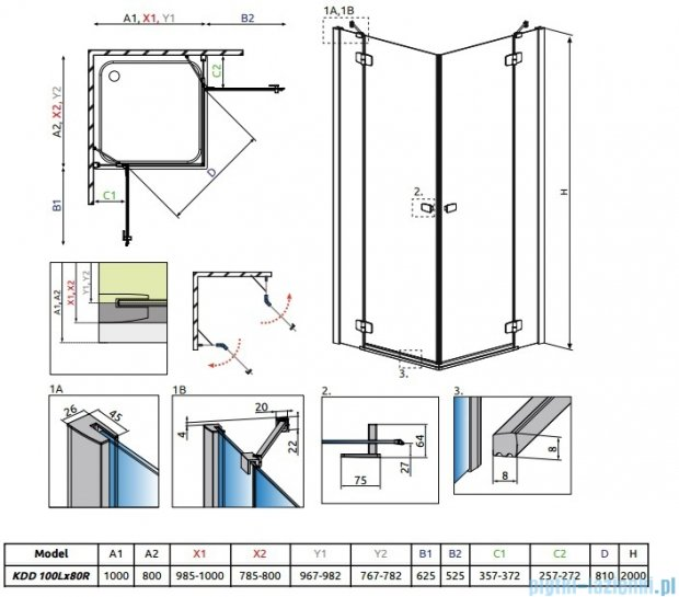 Radaway Fuenta New Kdd kabina 100x80cm szkło przejrzyste 384062-01-01L/384061-01-01R