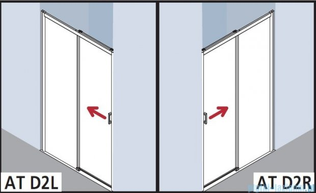 Kermi Atea Drzwi przesuwne bez progu, prawe, szkło przezroczyste KermiClean, profile srebrne 130x185 ATD2R13018VPK