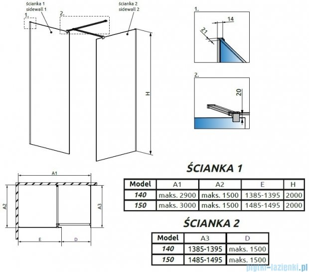 Radaway Modo New III kabina Walk-in 150x140x200 szkło przejrzyste 389154-01-01/389144-01-01/389000-01