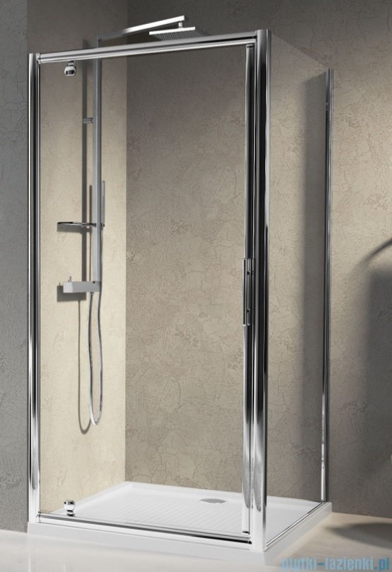 Novellini Drzwi prysznicowe obrotowe LUNES G 78 cm szkło przejrzyste profil srebrny LUNESG78-1B