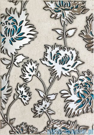 Domino Gris flower turkus dekor ścienny 25x36
