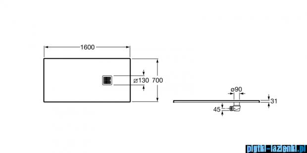 Roca Terran 160x70cm brodzik prostokątny konglomeratowy szary cementowy AP016402BC01300