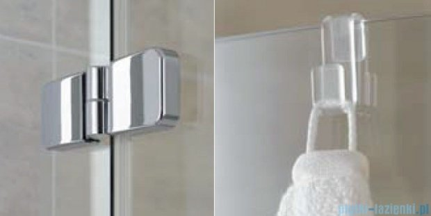 Kermi Gia XP Wejście narożne, połowa kabiny, prawa, szkło przezroczyste, profile srebrne 90x185cm GXESR09018VAK
