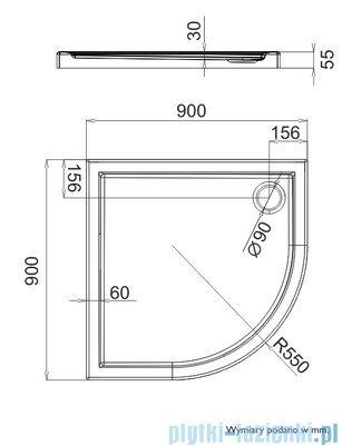Schedpol Brodzik półokrągły Caspar 90x90x5,5cm 3.264