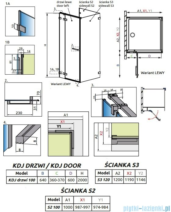 Radaway Euphoria KDJ P Kabina przyścienna 100x120x100 lewa szkło przejrzyste 383040-01L/383032-01/383037-01