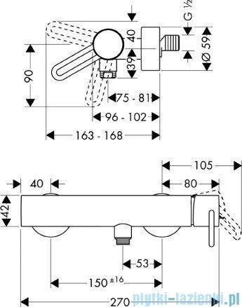 Hansgrohe Axor Uno² Jednouchwytowa bateria prysznicowa DN15 38620000
