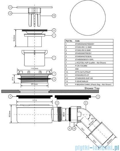 McAlpine Syfon brodzikowy 90'' pokrywa kolorze chrom HC2730LCPN-PB