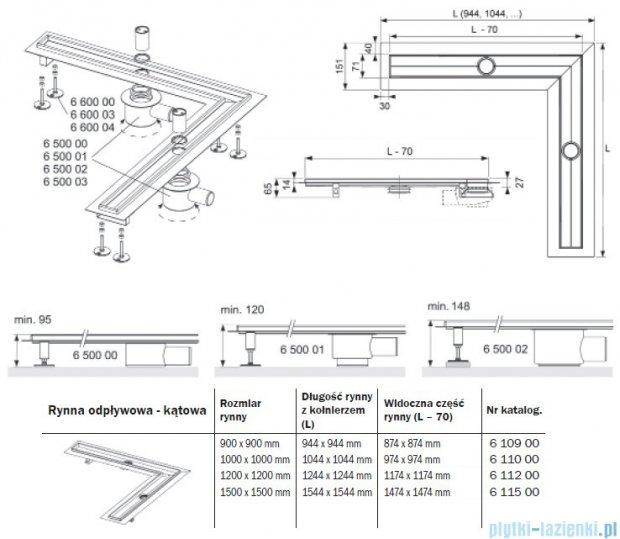 Tece Rynna odpływowa Tecedrainline-kątowa 100x100cm 6.110.00