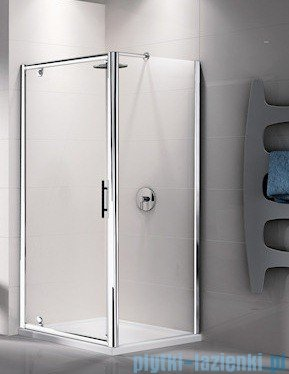 Novellini Ścianka stała LUNES F 96 cm szkło przejrzyste profil biały LUNESF96-1D