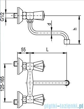KFA CERAMIK Bateria zlewozmywakowa ścienna dł. 250 mm chrom 330-610-00