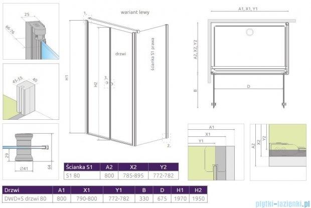 Radaway Eos II DWD+S kabina 80x80 lewa szkło przejrzyste + brodzik Delos C + syfon 3799490-01/3799410-01R/SDC0808-01