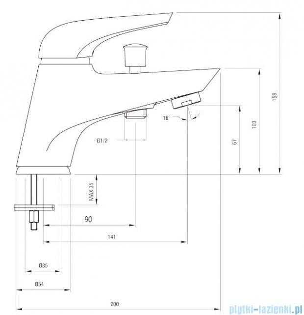 Deante Jaguar Line bateria wannowa 1-otworowa chrom BDX 016M