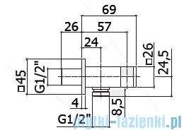 Paffoni Level przyłącze kątowe z uchwytem ZSUP032
