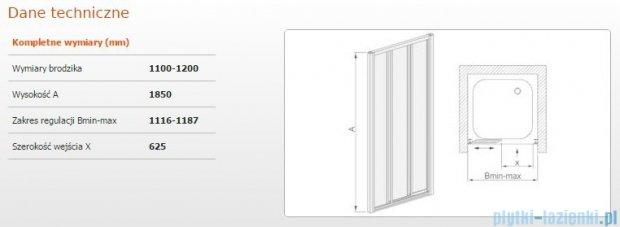 Sanplast drzwi przesuwne DTr-c-110-120 szkło Sitodruk W4 600-013-1851-01-410
