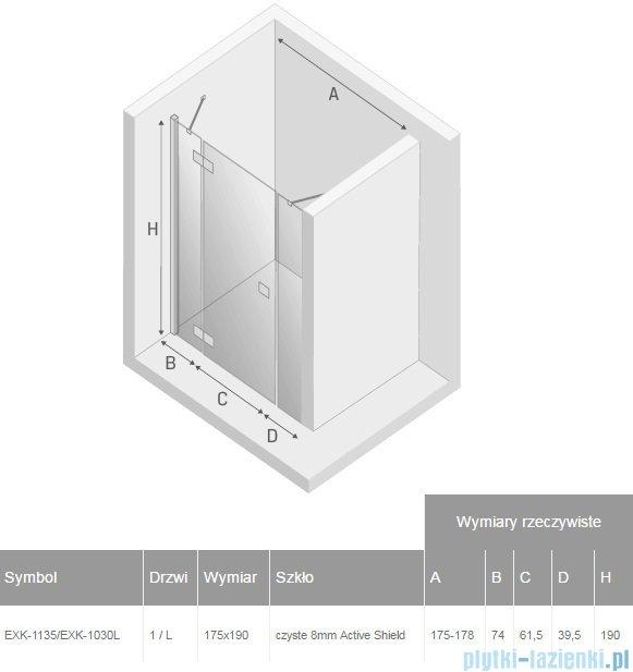 New Trendy Modena Plus drzwi prysznicowe 175cm lewe szkło przejrzyste EXK-1135/EXK-1030L