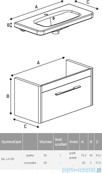 New Trendy Vito szafka umywalkowa 80 grafit połysk + umywalka ML-LA180