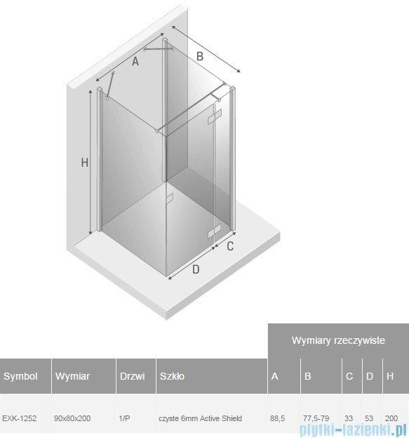 New Trendy Reflexa 90x80x200 cm kabina trójścienna prawa przejrzyste EXK-1252