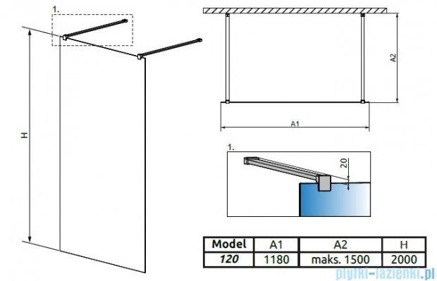 Radaway Modo New I kabina Walk-in 120x200 szkło przejrzyste 388124-01-01